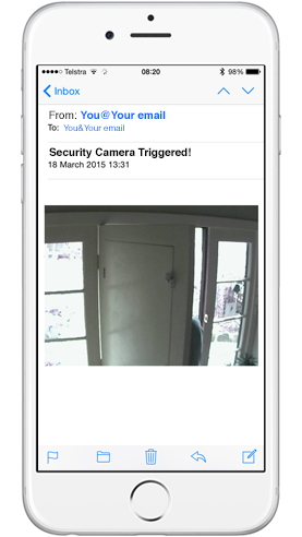 An iPhone with email notification from security camera