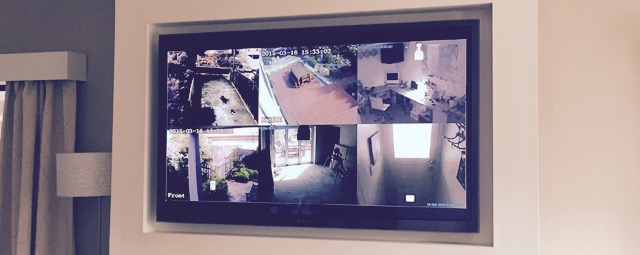 Security cameras being viewed on a TV