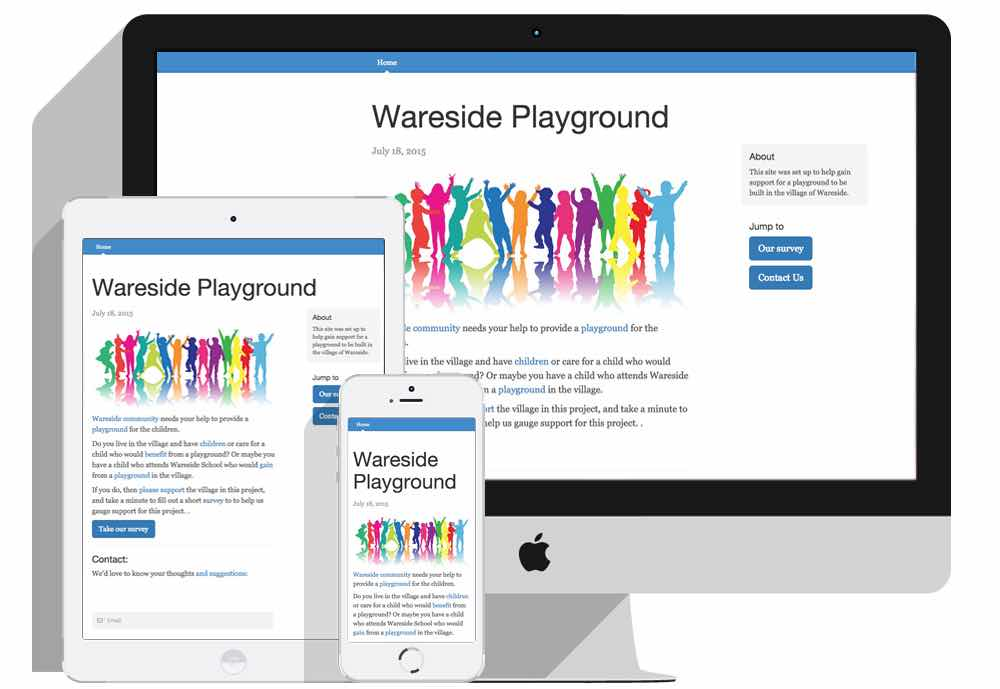 screenshot of waresideplayground.co.uk