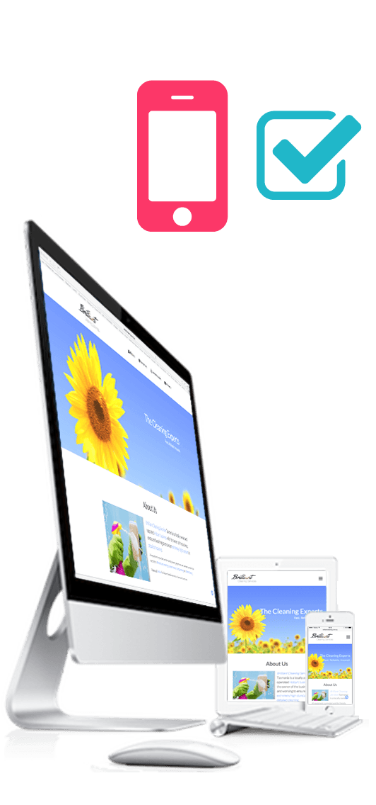 An iMac, iPad and iPhone displaying a website designed by Pomme IT